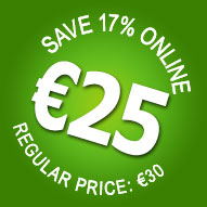 17% OFF! Online only. Book now for only €25 - Save €5!