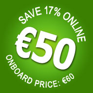 17% OFF! Online only. Book now for only €50 - Save €10!
