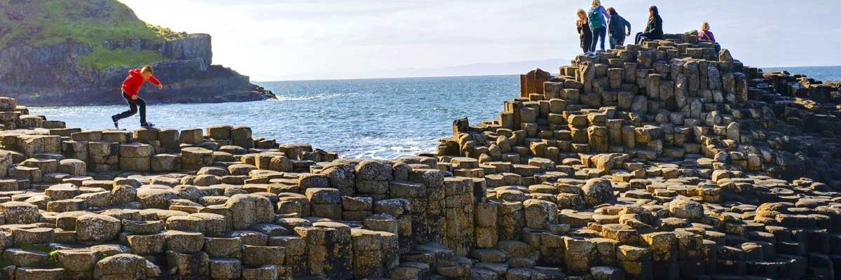 See the unusual rock structure of the Giants Causeway up close