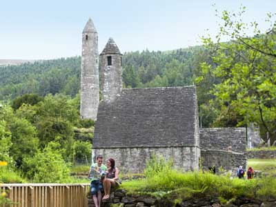 The Round Tower and St Kevins Kitchen in the monastic Glendalough
