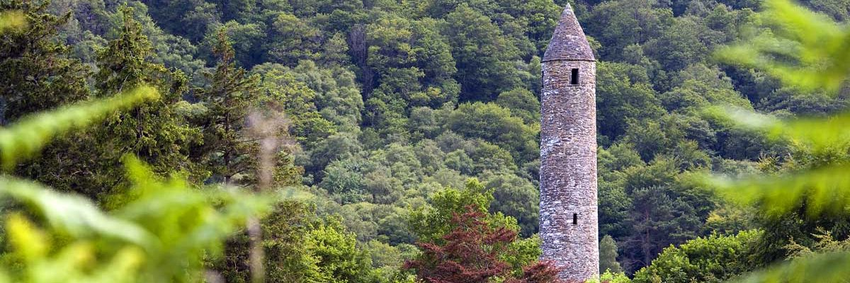 Historic Glendalough is famous for its Round Tower and Monastic setting